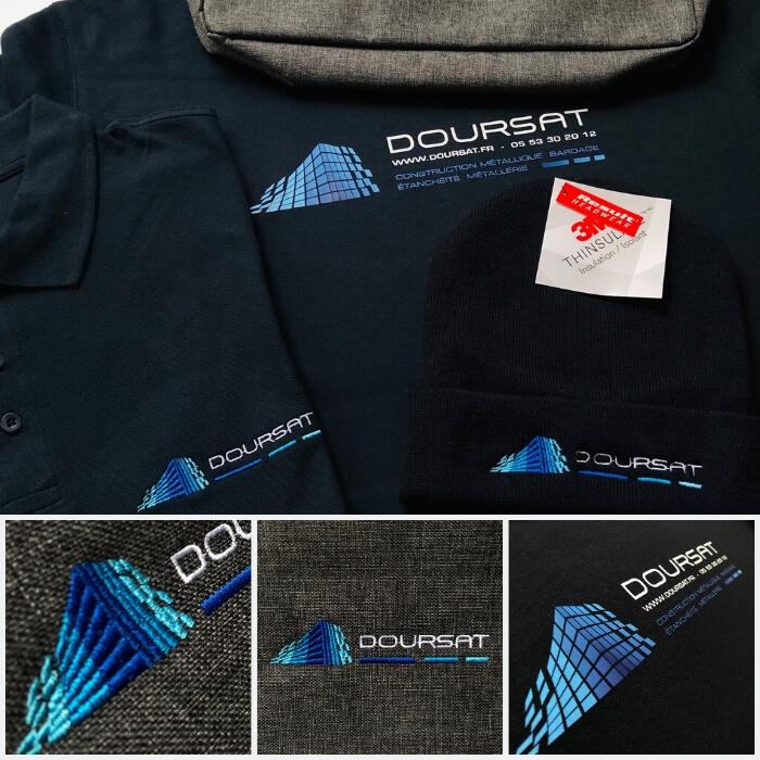 Pack textile personnalisé, divers vêtements personnalisés avec logo en broderie et flocage