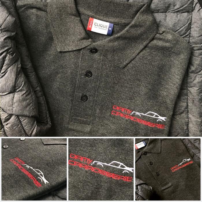 Modèle de polo personnalisé brodé avec le logo de l'entreprise Mancelle Damy Carrosserie.