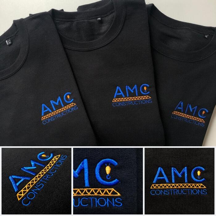 Sweats personnalisés brodés avec le logo de l'entreprise AMC