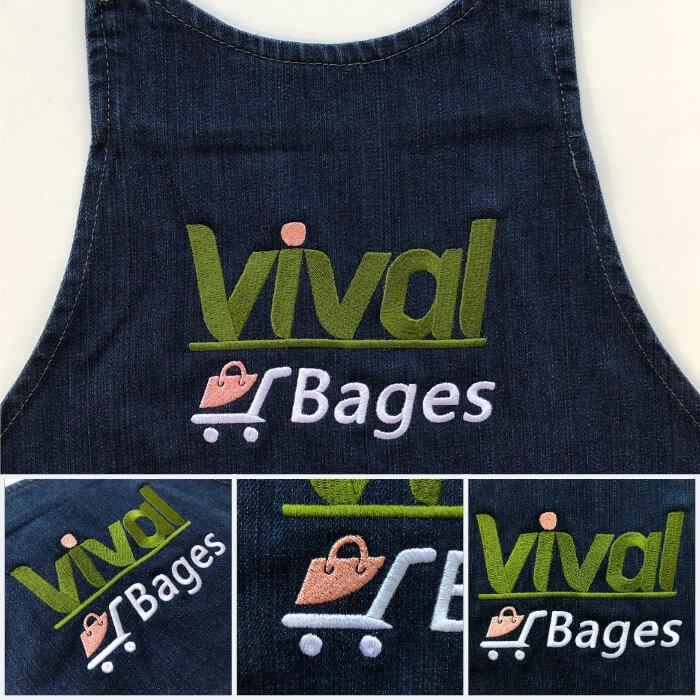Tablier brodé avec le logo de la supérette Vival Bages